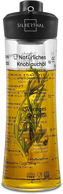 SILBERTHAL Aceitera Cristal | Aceitera antigoteo 500 ml | Aceitera aromatizadora | Botella Aceite Oliva Vidrio | Aceitera Especias | Aceitero Anti Goteo | Aceitero de Cristal