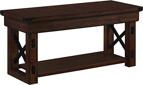 Ameriwood Home Wildwood Wood Veneer Entryway Bench, Espresso