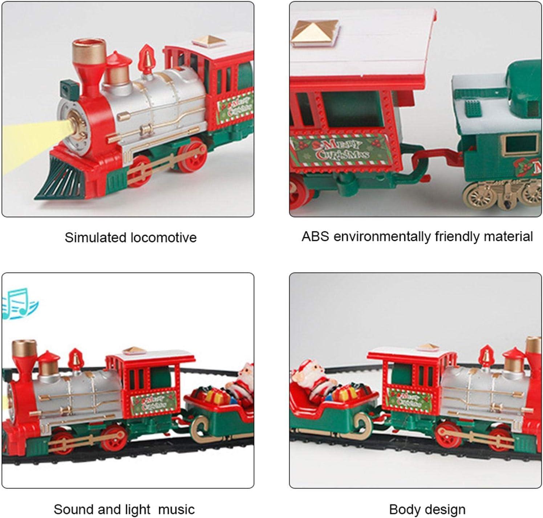 set di giocattoli per binari ferroviari musica e luci kit di costruzione di trenini elettrici con carrozza di Babbo Natale set di trenini elettrici pupazzo di neve Set di trenini natalizi