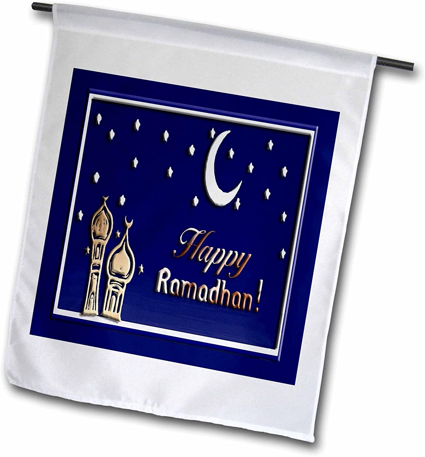 3dRose fl_22458_1 Ramadan Temples with Blue Sky Stars and Moon Garden Flag, 12 by 18-Inch
