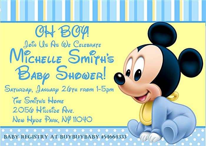 Amazon Com Mickey Mouse Baby Shower Invitations Mickey Mouse Baby