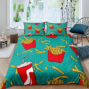 Erosebridal Boys French Fries Duvet Cover Coke Bedding Set for Kids Children Girls Teens American Fast Food Comforter Cover Geometric Dots Teal Quilt Cover Modern Fashion Birthday Gifts Twin Size