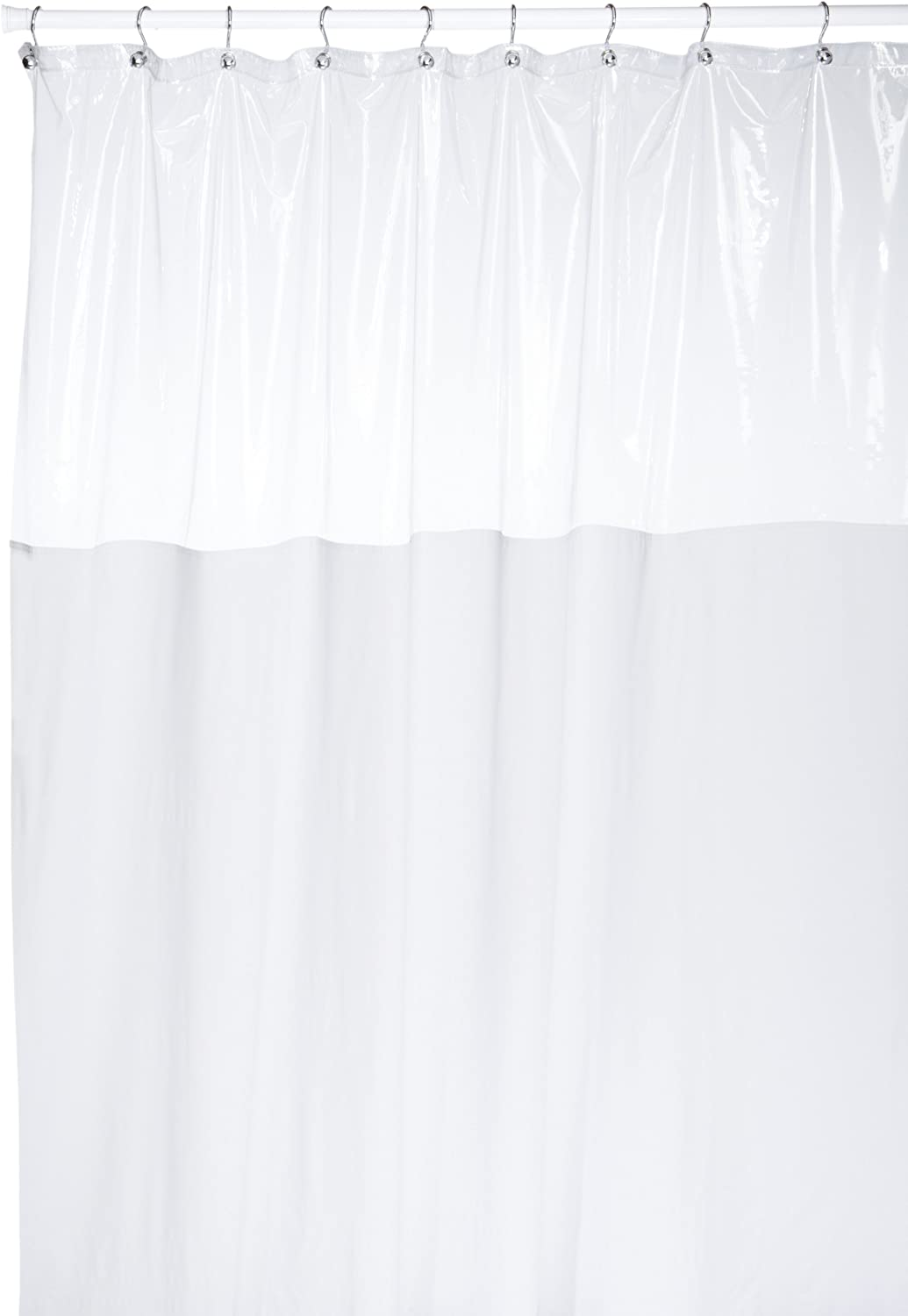 Carnation Home Fashions 72 by 84-Inch Vinyl Window Shower Curtain, White