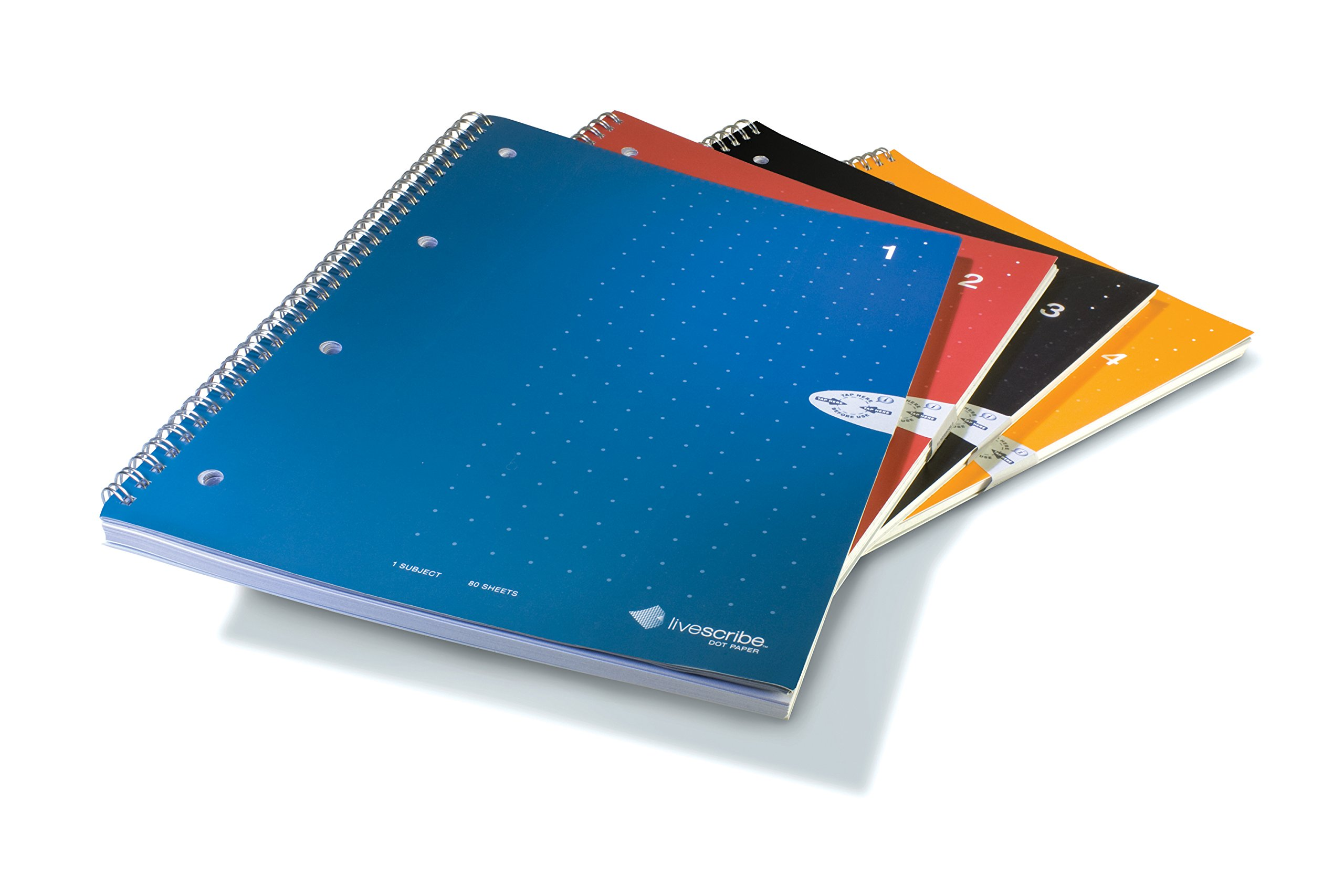 Livescribe Single-Subject Lined Notebooks #1-4 (A4, 8.3'' x 11.7'', 210mm x 297mm), 4 Colors, 4 Pack