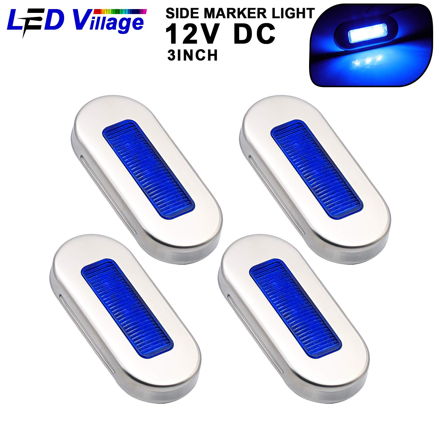 Ledvillage 3 Inch Oval 2 Amber 2 Red LED Courtesy Marine Lights Interior /& Exterior Lamp for Lorry Cabin Truck RV Boat Tow Camper Trailer Jeep Universal 12V DC with Chrome Stainless UV12 Pack of 4
