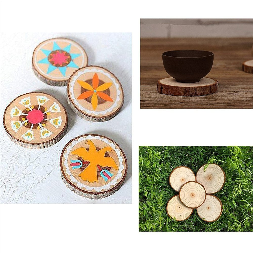 Wood Slices with Bark for Crafts 3.5 4 inch 15pcs by MAIYUAN