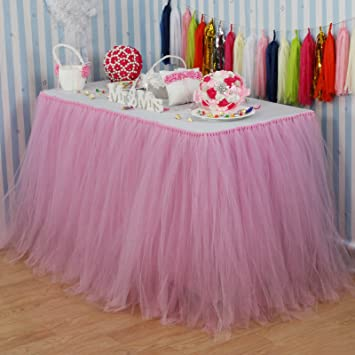 Vlovelife Baby Pink Tulle Table Skirt Tutu Tableware TableCloth Party Shower Birthday Wedding Decorations Favor