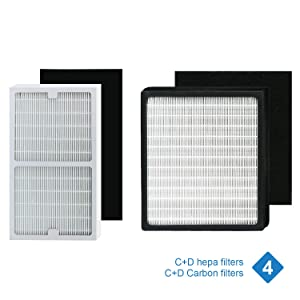Replacement idylis Hepa Filters C and D (with Carbon Filters), Compatible with idylis Models Idylis IAP-10-280