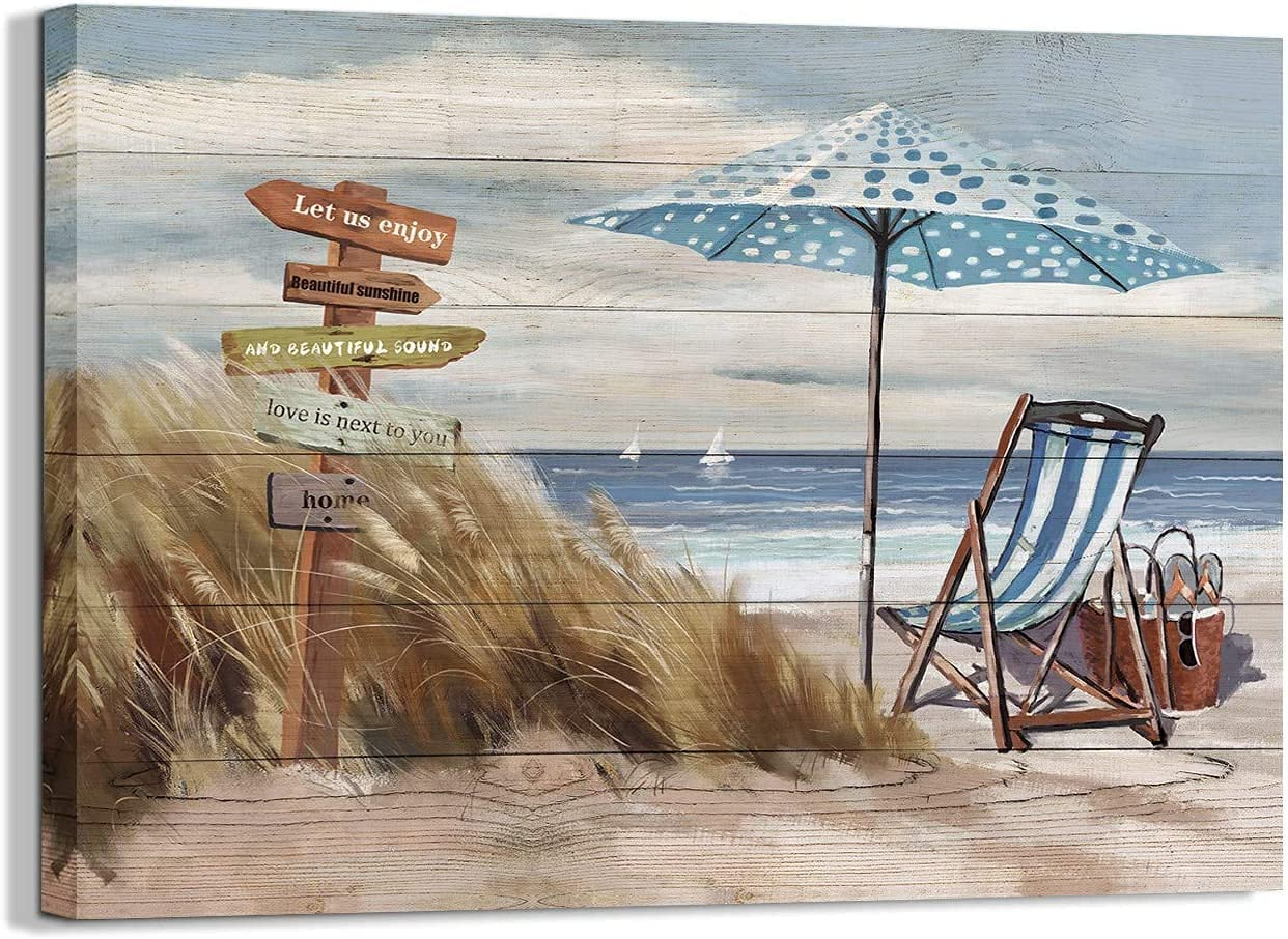 Beach Canvas Wall Art for bathroom Home Decor Painting Picture artwork