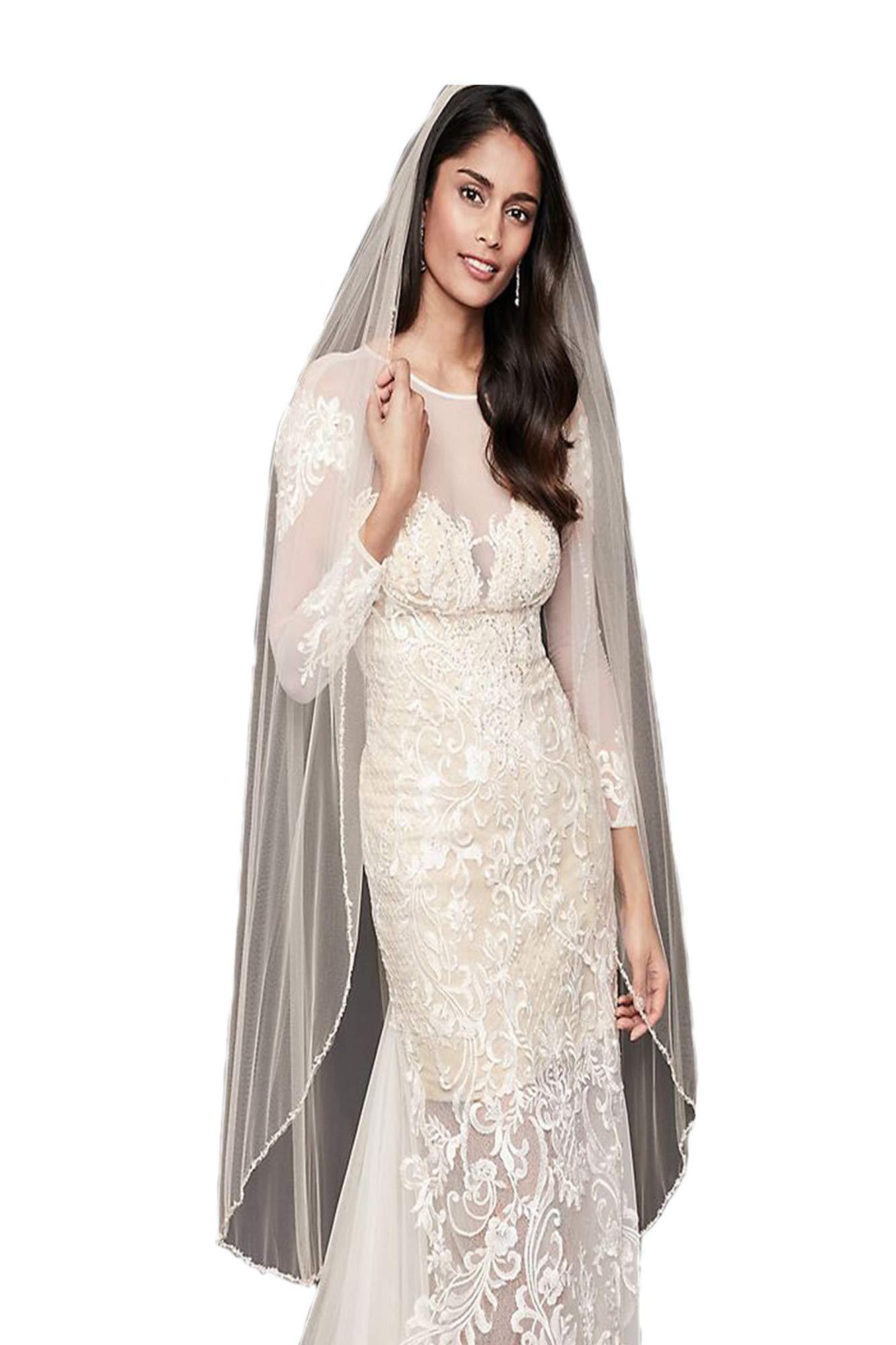 Passat Ivory 1Tier Elbow/Waist Embroidered Floral Garland beads crystals bride veils rhinestone wedding veils297 by Passat