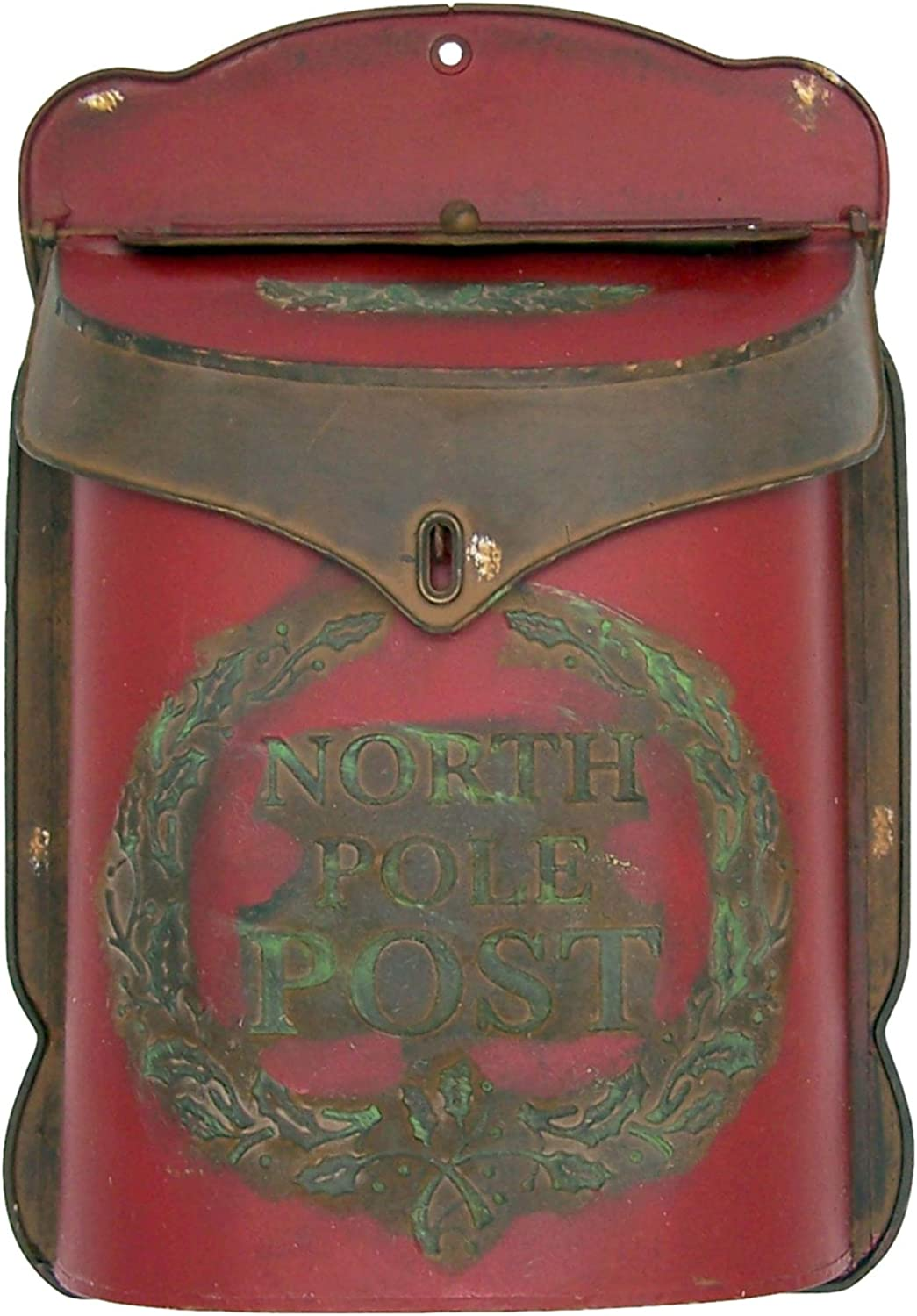 Red North Pole Mailbox, Letters to Santa Decorative Metal Box, Rustic Christmas Home Decor, 15 Inches