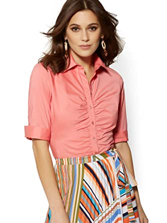 7a8a13af92acb Amazon.com  New York   Co. Women s Tall Ruched Madison Stretch Shirt - 7Th  Avenue  Clothing
