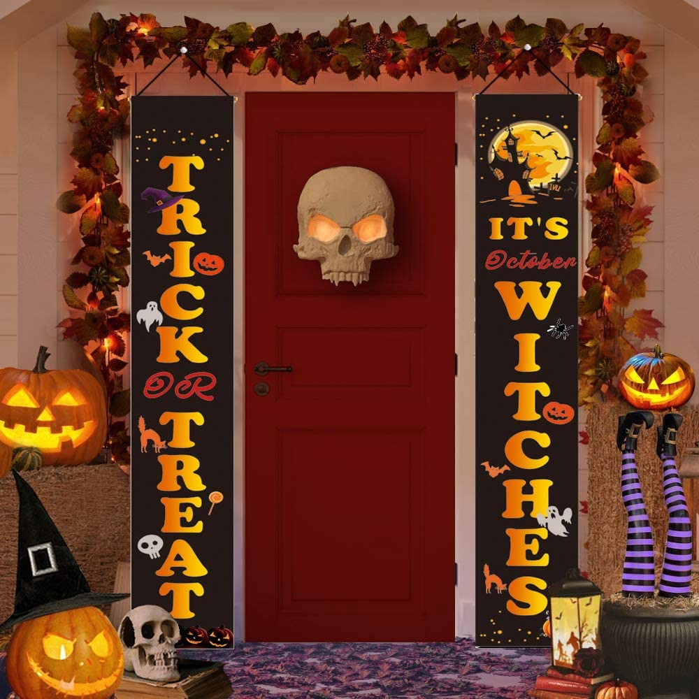 Halloween Decorations Outdoor - It's October Witches & Trick Or Treat Halloween Signs, Halloween Porch Banners for Front Door Indoor Home Decor, Halloween Welcome Signs, Halloween Party Hanging Flags