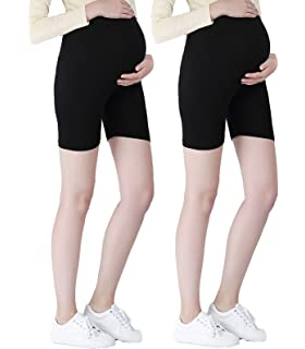 22c47020fef6e Liang Rou Maternity Belly Support Mini-Ribbed Stretch Short Leggings ...