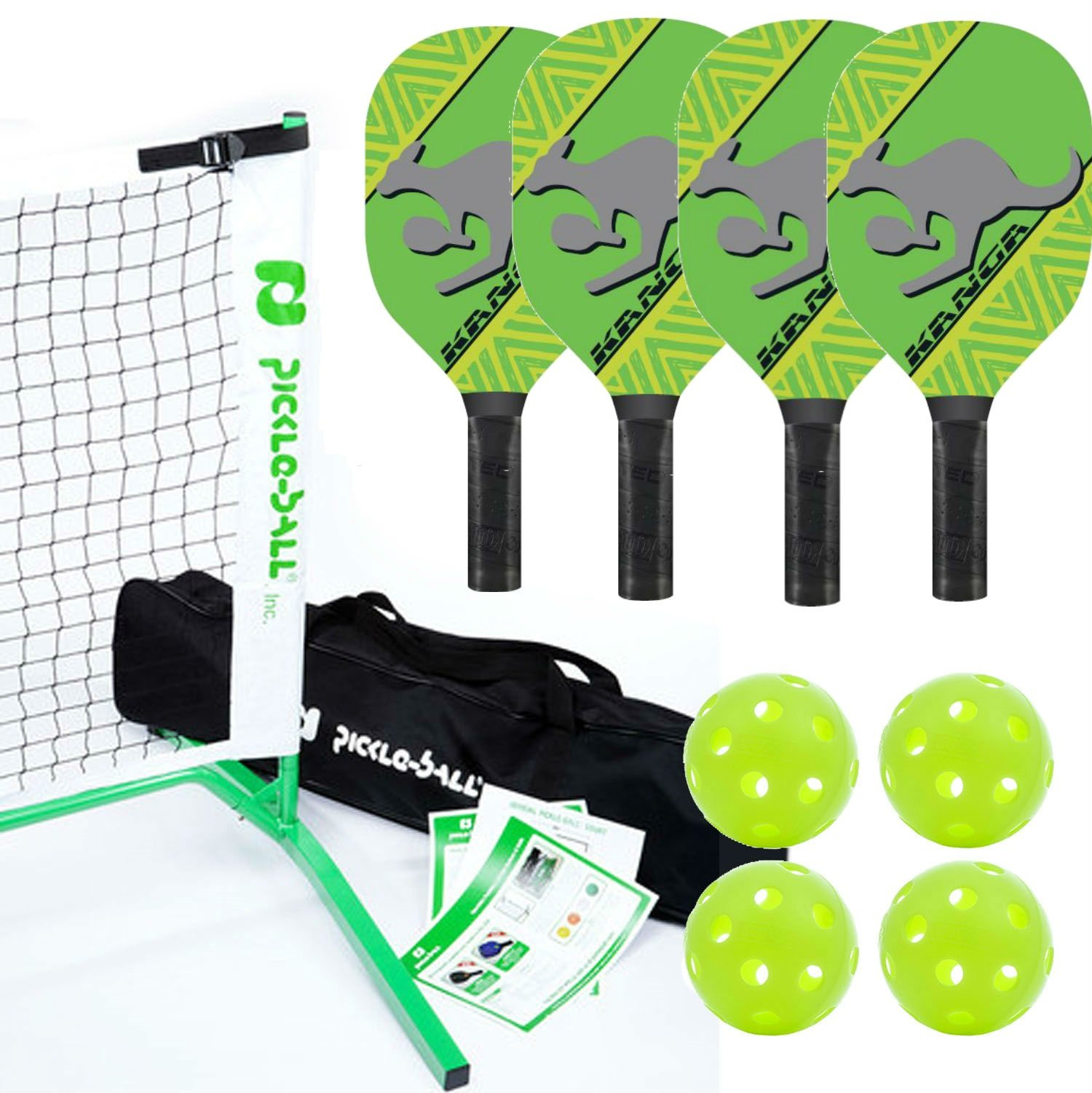 Kanga Pickleball Net, Paddle and Ball Set (Includes Metal Frame + Net + 4 paddles + 4 balls + Rules Sheet in Carry Bag) by PickleballCentral