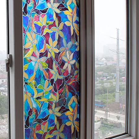 Bluelans window film privacy stained glass effect window stickers self adhesive static cling glass