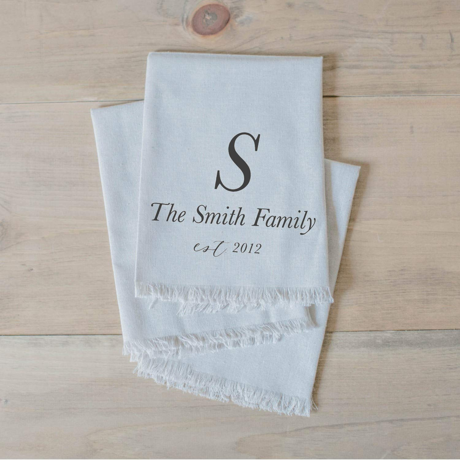 home decor table setting home decor tableware Handmade in the USA housewarming gift dinner party place setting Family Initial and Name Personalized Napkin Set