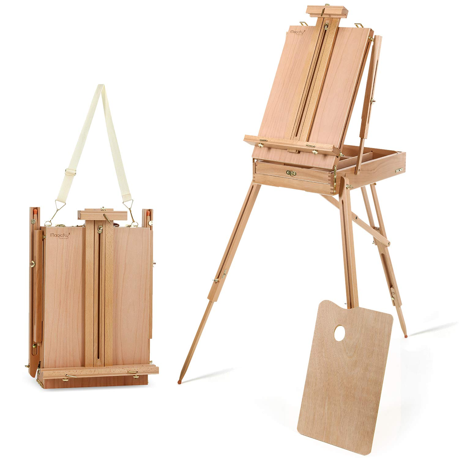 Magicfly Portable Art Easel with Storage Sketch Box, French Style Adjustable Painters Easel with Wooden Pallete Shoulder Strap for Painting and Drawing by Magicfly