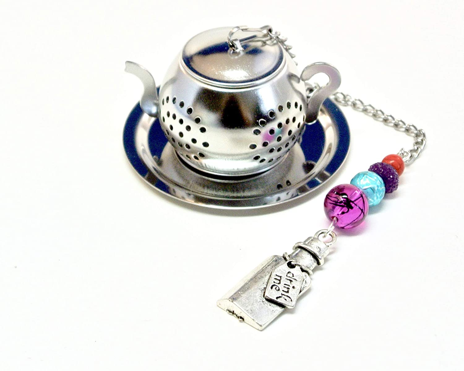 Drink Me Bottle Tea Infuser with Fuchsia and Blue Beads
