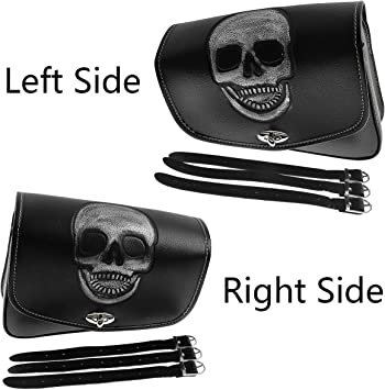Motorcycle Saddlebags with Skull Pattern Black Leather Motorcycle Windshield Bag Right Side Motorcycle Fork Bag