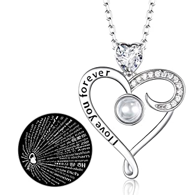 afab2741a 100 Languages April Birthstone Diamond Necklace Gifts for Women I Love You  Sterling Silver Jewelry Mothers