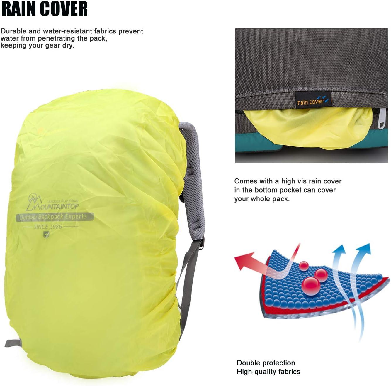 MOUNTAINTOP Hiking Backpack 40L Water Resistent Trekking Rucksack for Men Women Outdoor Traveling pack Daypack 55 x 35 x 25 cm