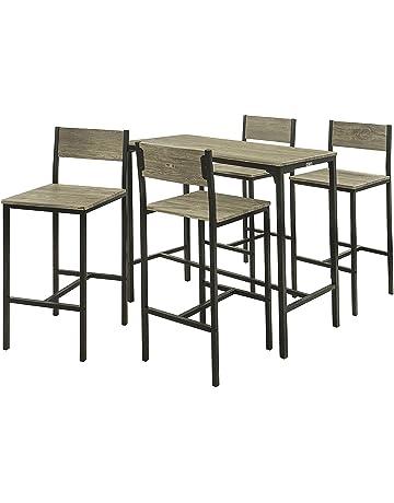 SoBuy Juegos de Muebles Altas, Mesa de Cafetería, 3 Piezas Set de Balcón,