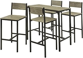 SoBuy Set Tavolo Alti da Bar con 2 sgabelli Tavolo Cucina con sedie ...