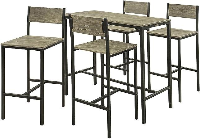 SoBuy® Set 5 Pezzi Tavolo con 4 sedie Alto, Set di mobili da Balcone,OGT14