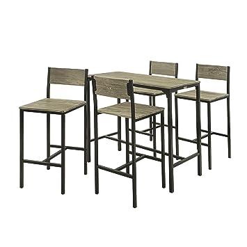 SoBuy® OGT14 Set de 1 Table + 4 chaises Ensemble Table de Bar + 4 ... b547d44a8022