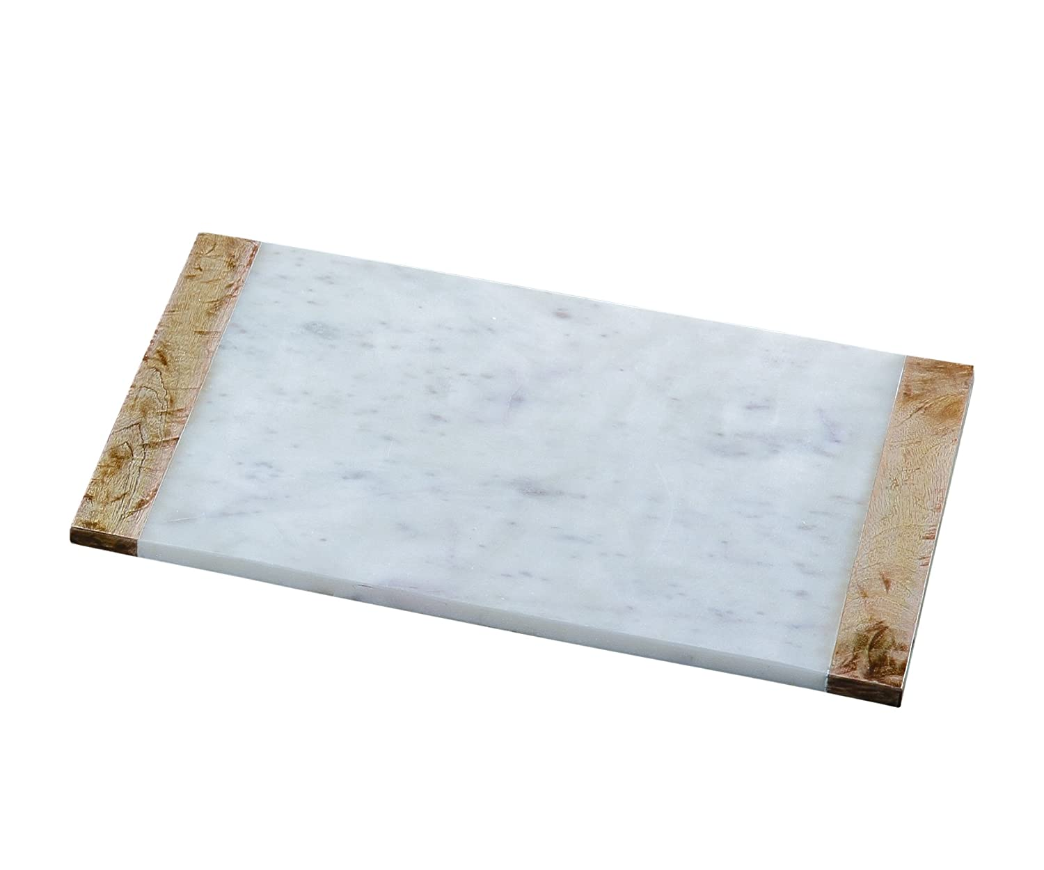 "Creative Home White Marble and Mango Wood Pastry Board 12/"" x 18"