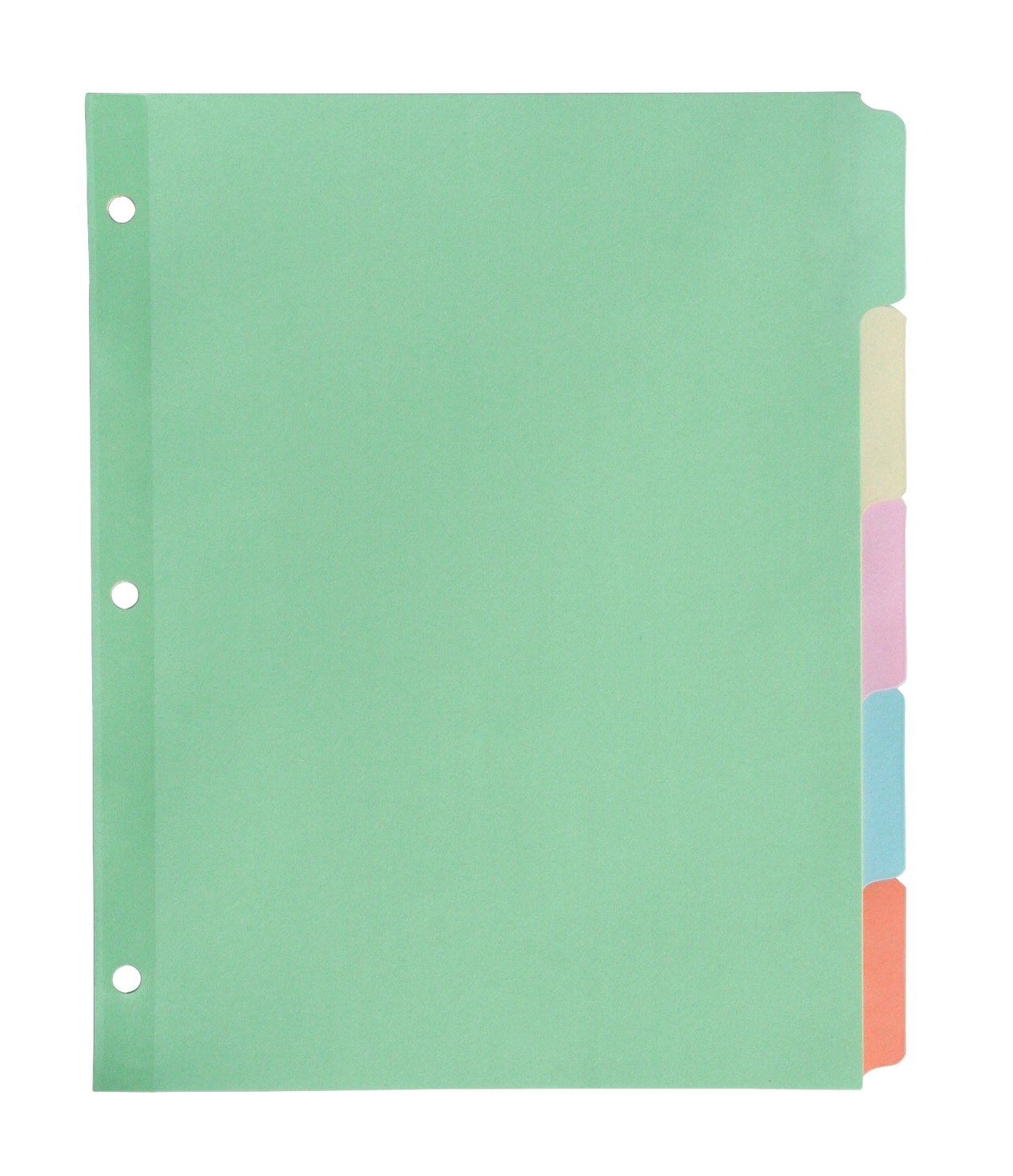 School Smart Paper Plastic Erasable Index 5-Tab, 11 x 8-1/2 Inches, Assorted Color, Set of 1