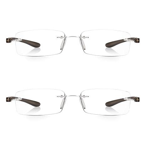 c6272e0fd30 Read Optics 2 Pack Rimless Reading Glasses 2.5  Mens Womens New Patented  SecureLoc Readers