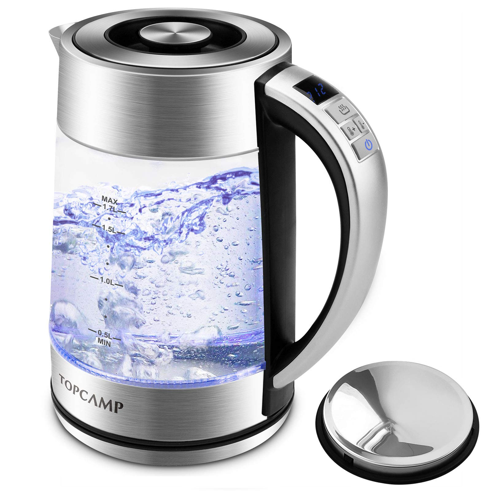 Glass Electric Kettle Water Heater Temperature Control with Stainless Steel Lid, 1.7L Fast Boiling Water Kettle With Led Display - Keep Warm/ Quick Biol/ BPA-Free ( Boil-Dry Protection / Auto Shut-off) by TopCamp