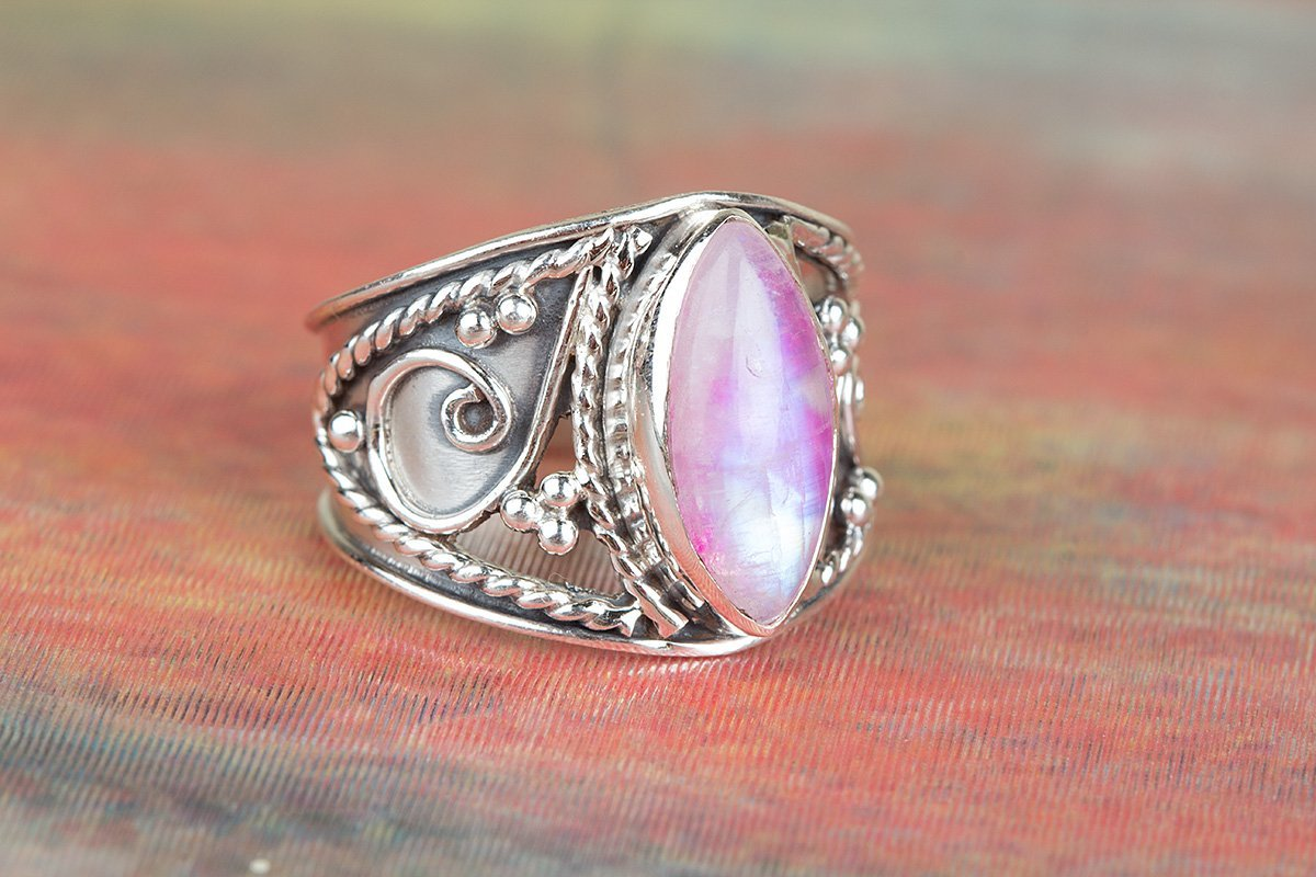 Pink Moonstone Ring, 925 Sterling Silver Ring, Wide Band Ring, Pink Stone Ring, Trending Ring, Promise Ring, June Birthstone, Healing Ring, Engagement Ring, Mermaid Gift, US All Size Ring (Standard)