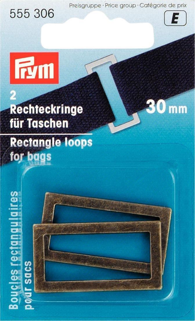 Prym, passanti rettangolari per borse e cinghie, in metallo, ottone anticato, 30mm, 2 pezzi PRYM_555306-1