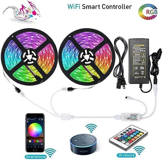 32.8ft  5050 RGB Waterproof LED strip light WIFI Alexa Smart Home Power Full Kit