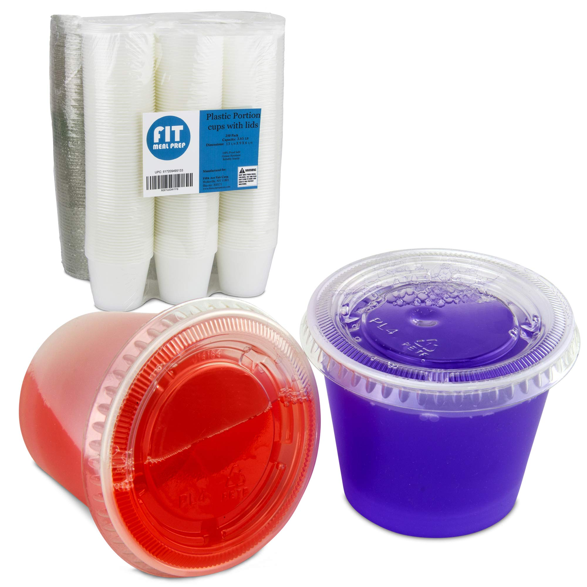[250 Pack] 5.5 Ounce BPA-Free Plastic Portion Cup with Clear Lids Disposable Jello Shots Sauce Condiment Souffle Dressing Mini Containers by Fit Meal Prep