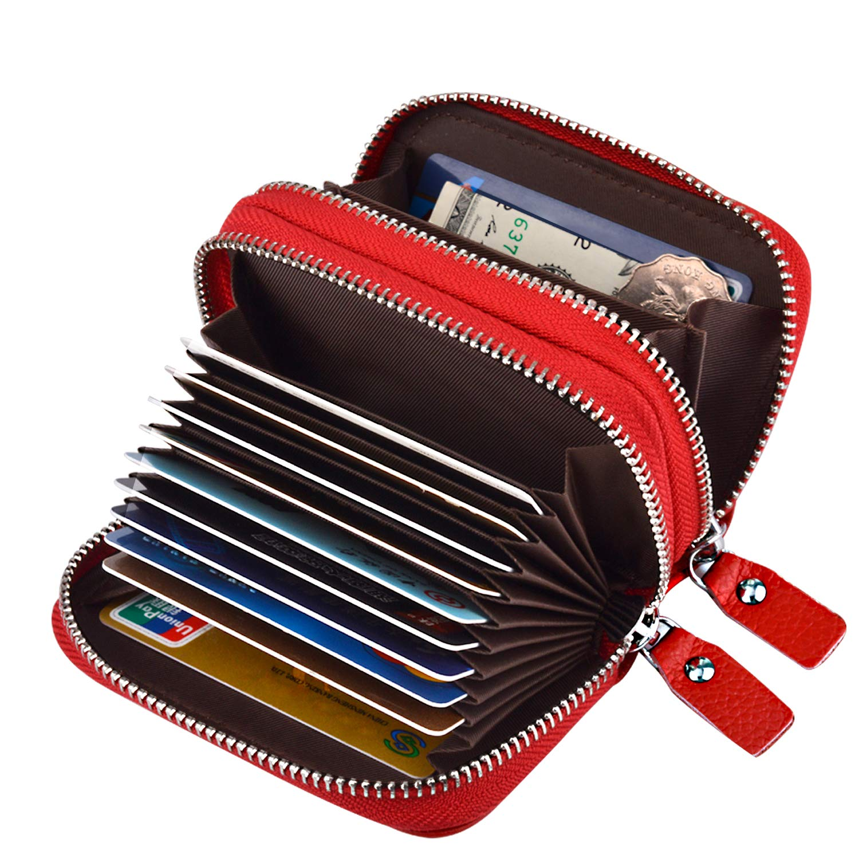 MaxGear RFID Double zipper wallet RFID Credit Card Holder for Women RFID Credit Card Wallet for Travel