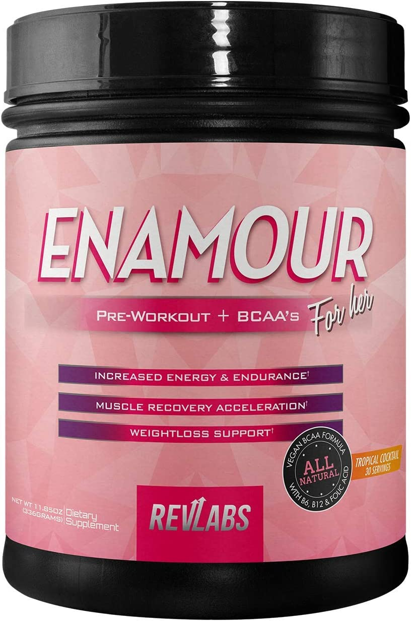 RevLabs ENAMOUR Womens Pre-Workout for Her with Added Branch Chain Amino Acids Tropical Cocktail