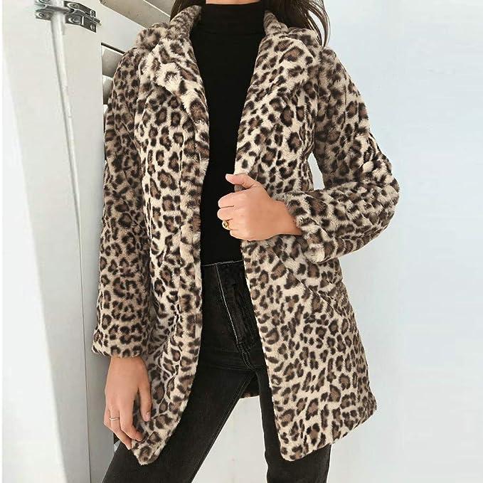 Linlink Liquidación Mujeres Leopardo Invierno Sexy cálido Abrigo Caliente de Piel sintética Abrigo Cardigan Outwear Chaqueta de Abrigo: Amazon.es: Ropa y ...