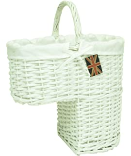East2eden Wicker Seagrass Stair Storage Basket With Carry Handle (White U0026  Pure White Liner)