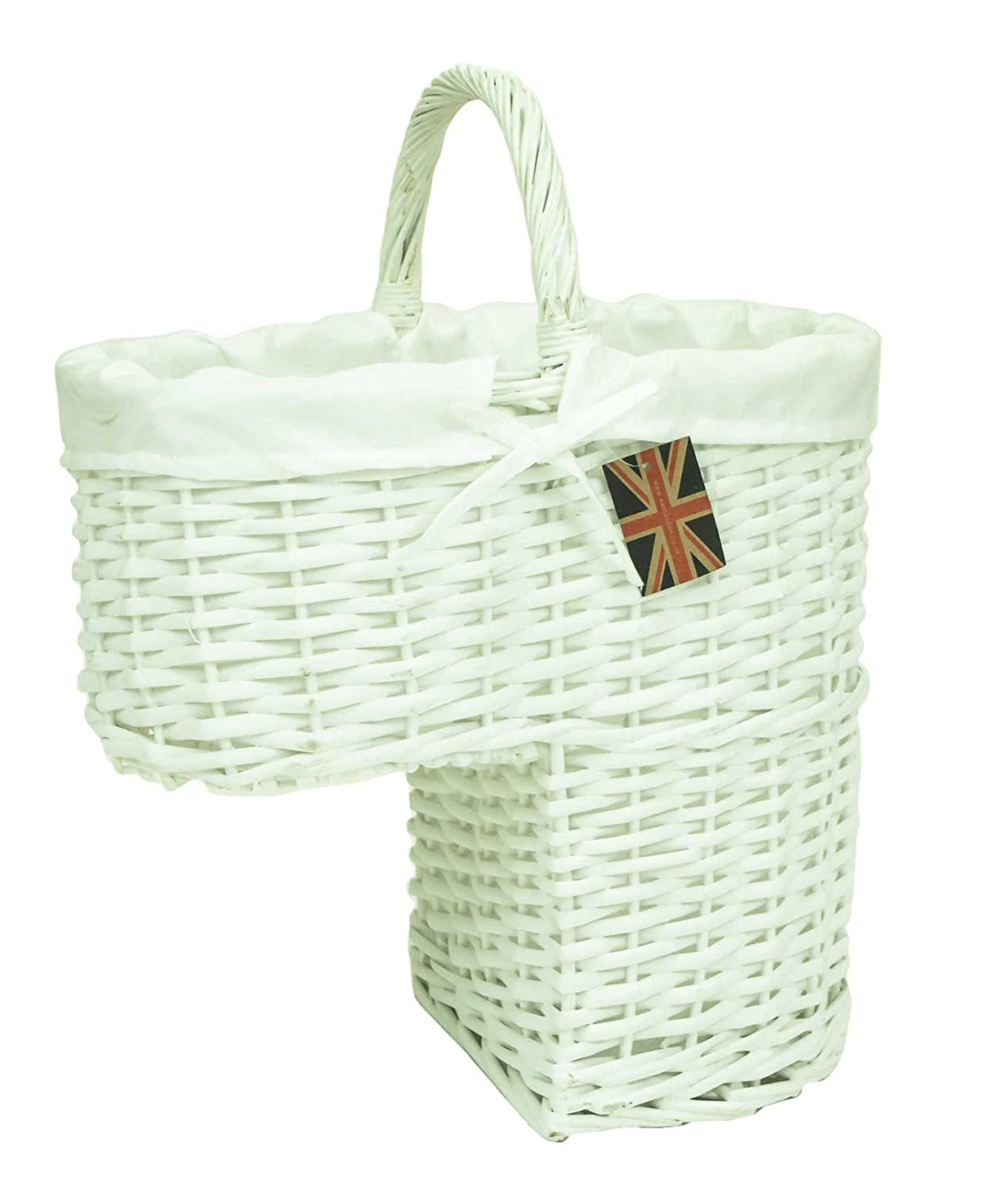 east2eden Wicker Seagrass Stair Storage Basket with Carry Handle (White & Pure White Liner) e2e