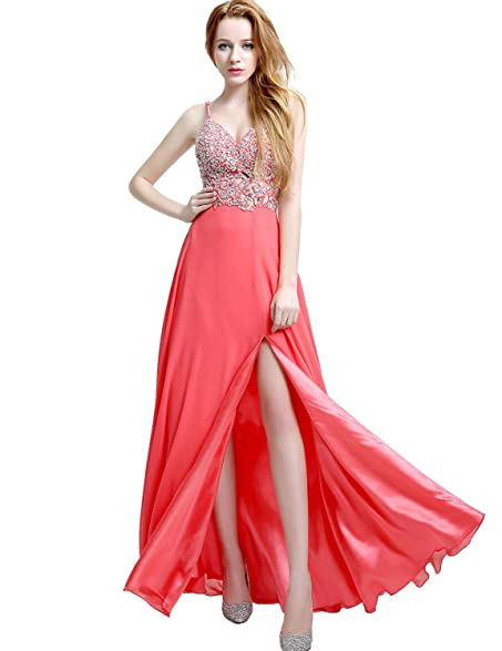 Clearbridal Women Coral Long Prom Dresses V Neck Evening Gowns With Side Slit Party Dresses Ball