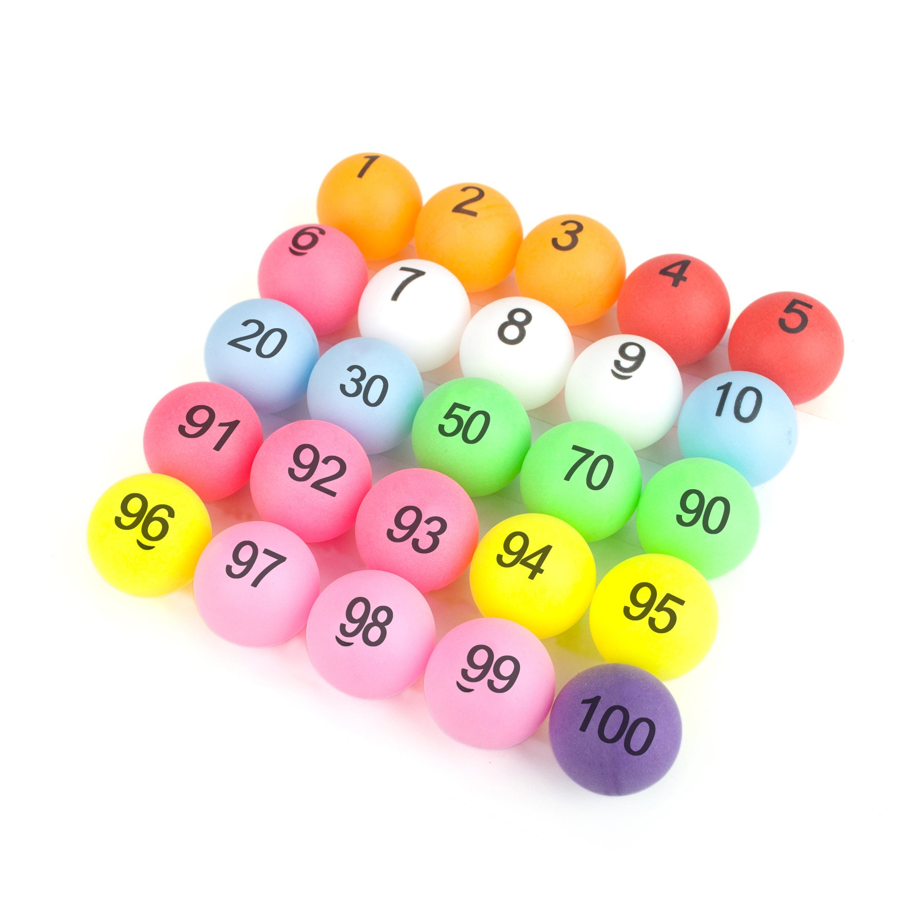 GOGO (No. 1-50 Numbered Beer Pong Balls, 40mm Table Tennis Balls, Assorted Raffle Ball