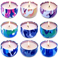 Pack of 9 Citronella Candles, 2.2 oz Handsome Camouflage Style Travel Tin Candles, Soy Wax Fly Candle Made with…