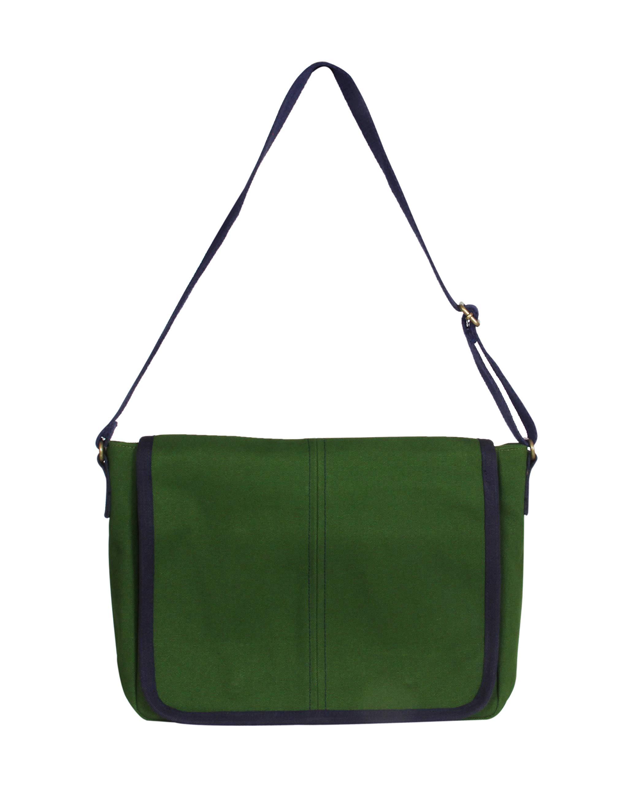 EcoRight Messenger Bag - Canvas 100% EcoFriendly Shoulder Bag for Men, Laptop Travel Bag - Army Green