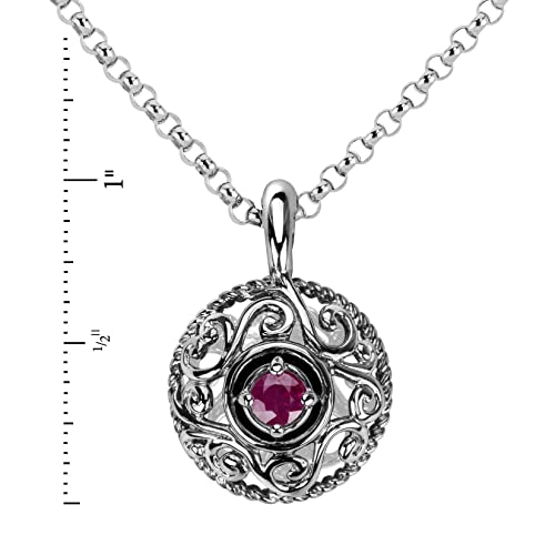 Carolyn Pollack Sterling Silver Genuine Gemstone Birthstone Pendant Necklace – 16 to 18 Chain