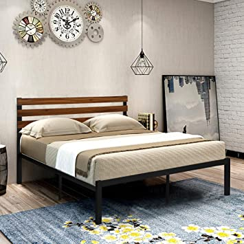 Amazon Com Greenforest Full Bed Frame With Wooden Headboard And