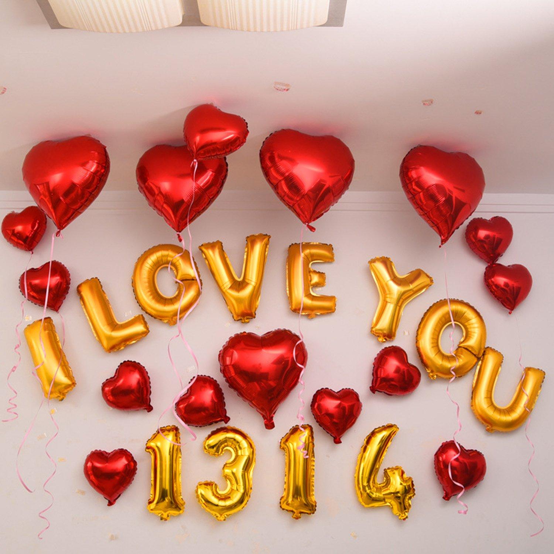 Pellicola in alluminio da 16 palloncini per anniversario compleanno Natale Matrimonio New Year banchetto decorazione 10 Balloon numeri da 0 a 9 in oro 10 Balloon Numbers 26 Balloon Lettere in oro